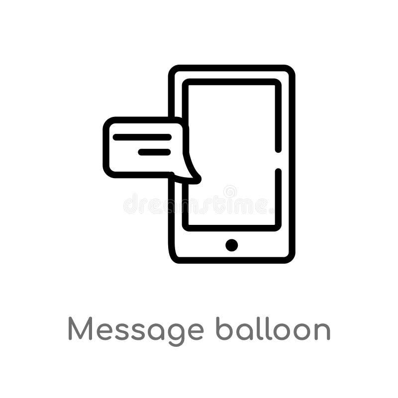 icono del vector del globo de mensaje del esquema línea simple negra aislada ejemplo del elemento del último concepto de los glyp libre illustration