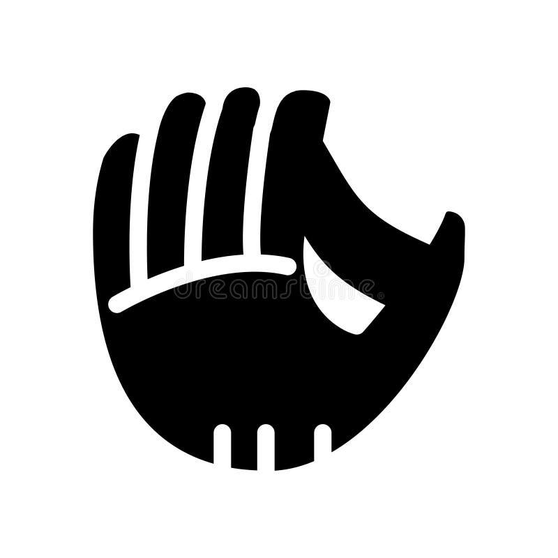 Icono del vector del glyph de la mano del béisbol ilustración del vector