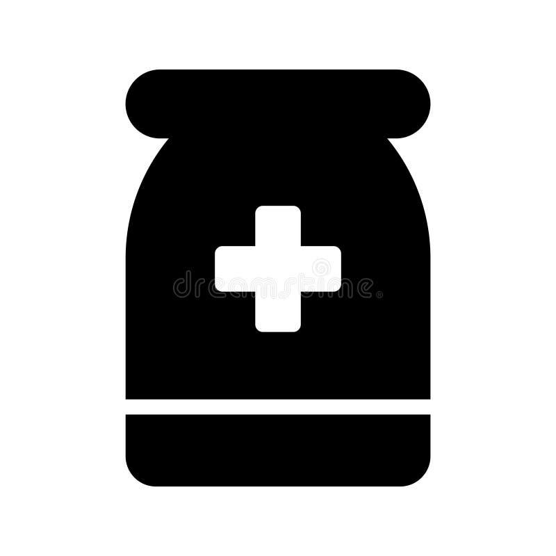 Icono del vector del Glyph de las píldoras stock de ilustración