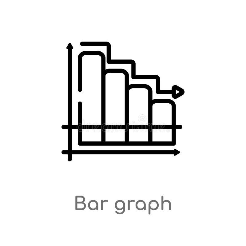 icono del vector del gráfico de barra del esquema l?nea simple negra aislada ejemplo del elemento del concepto de la productivida ilustración del vector