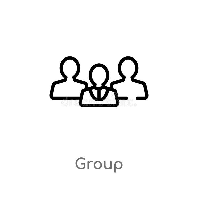 icono del vector del grupo del esquema línea simple negra aislada ejemplo del elemento del concepto del servicio de atención al c stock de ilustración