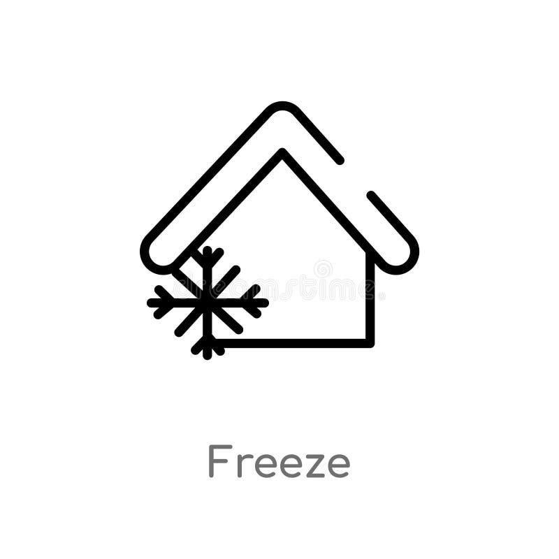 icono del vector del helada del esquema l?nea simple negra aislada ejemplo del elemento del concepto elegante de la casa Movimien stock de ilustración