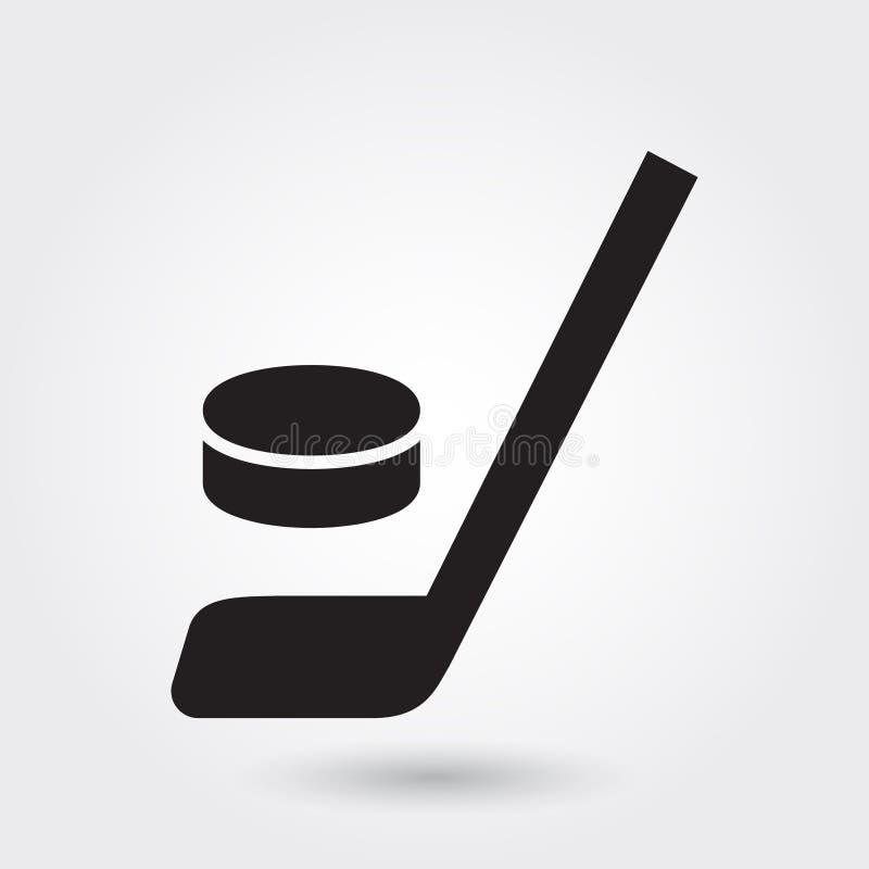 Icono del vector del hockey, icono del palillo de hockey, símbolo del deporte del hockey Glyph moderno, simple, ejemplo sólido de ilustración del vector