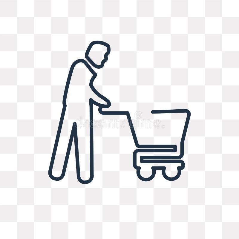 Icono del vector del hombre que hace compras aislado en el fondo transparente, lin libre illustration