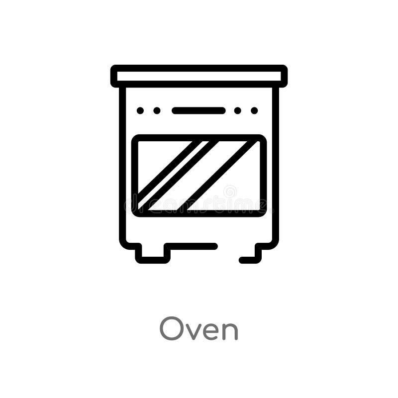 icono del vector del horno del esquema línea simple negra aislada ejemplo del elemento del concepto de los muebles icono editable ilustración del vector