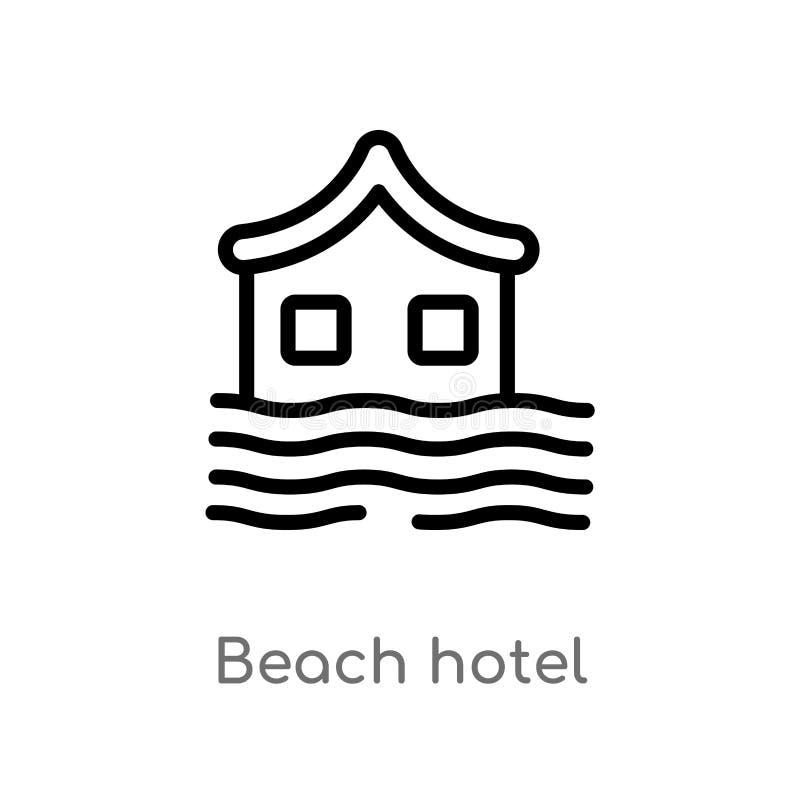 icono del vector del hotel de la playa del esquema línea simple negra aislada ejemplo del elemento del concepto del hotel playa e stock de ilustración
