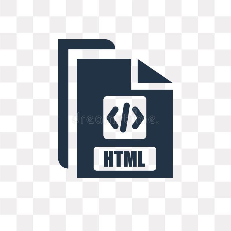Icono del vector del HTML aislado en el fondo transparente, transporte del HTML ilustración del vector