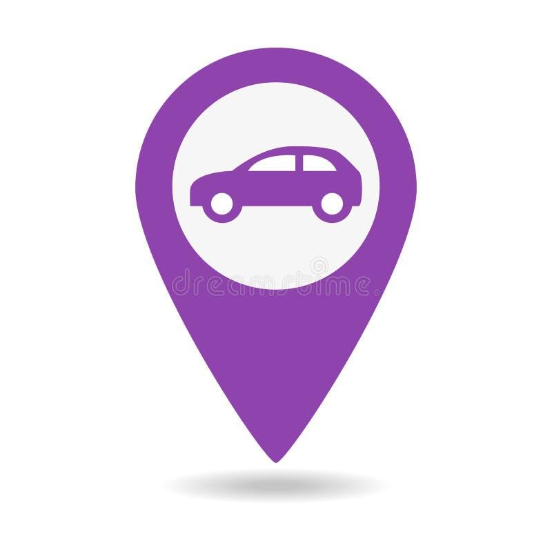 Icono del vector del indicador del mapa del coche fotos de archivo