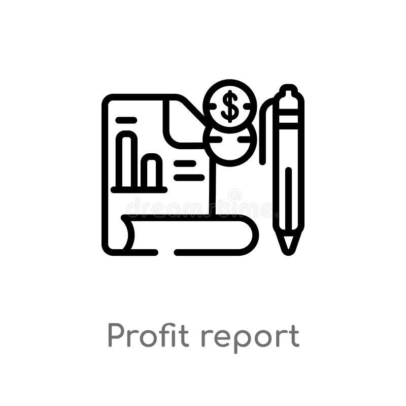 icono del vector del informe del beneficio del esquema línea simple negra aislada ejemplo del elemento del concepto del negocio M ilustración del vector