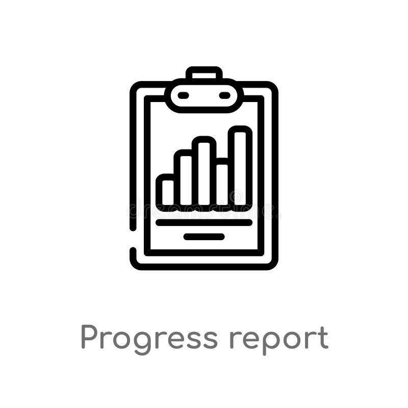 icono del vector del informe sobre los progresos del esquema l?nea simple negra aislada ejemplo del elemento del concepto del neg libre illustration