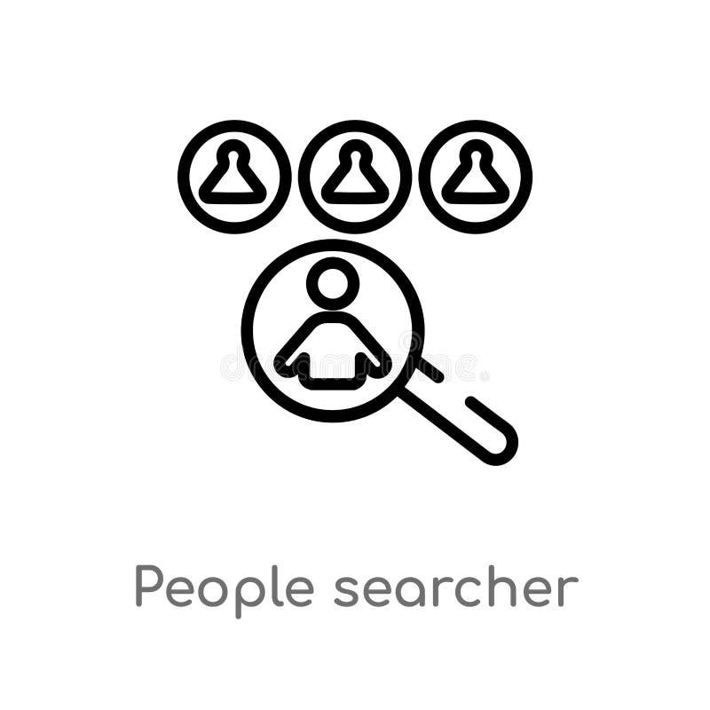 icono del vector del investigador de la gente del esquema línea simple negra aislada ejemplo del elemento del concepto de la gent stock de ilustración