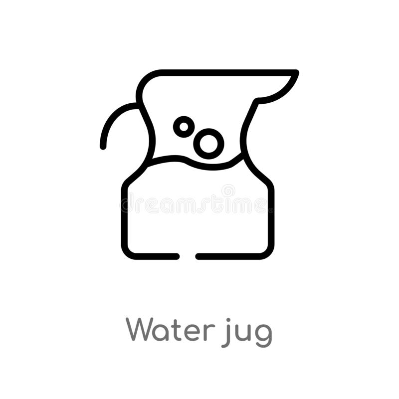 icono del vector del jarro de agua del esquema l?nea simple negra aislada ejemplo del elemento del concepto de las bebidas agua e stock de ilustración
