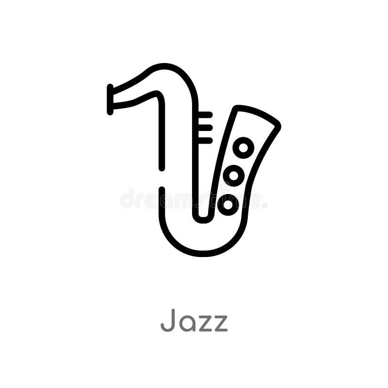 icono del vector del jazz del esquema línea simple negra aislada ejemplo del elemento del concepto de la música icono editable de libre illustration