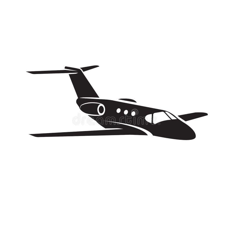 Icono del vector del jet privado Diseño plano del ejemplo del jet del negocio stock de ilustración