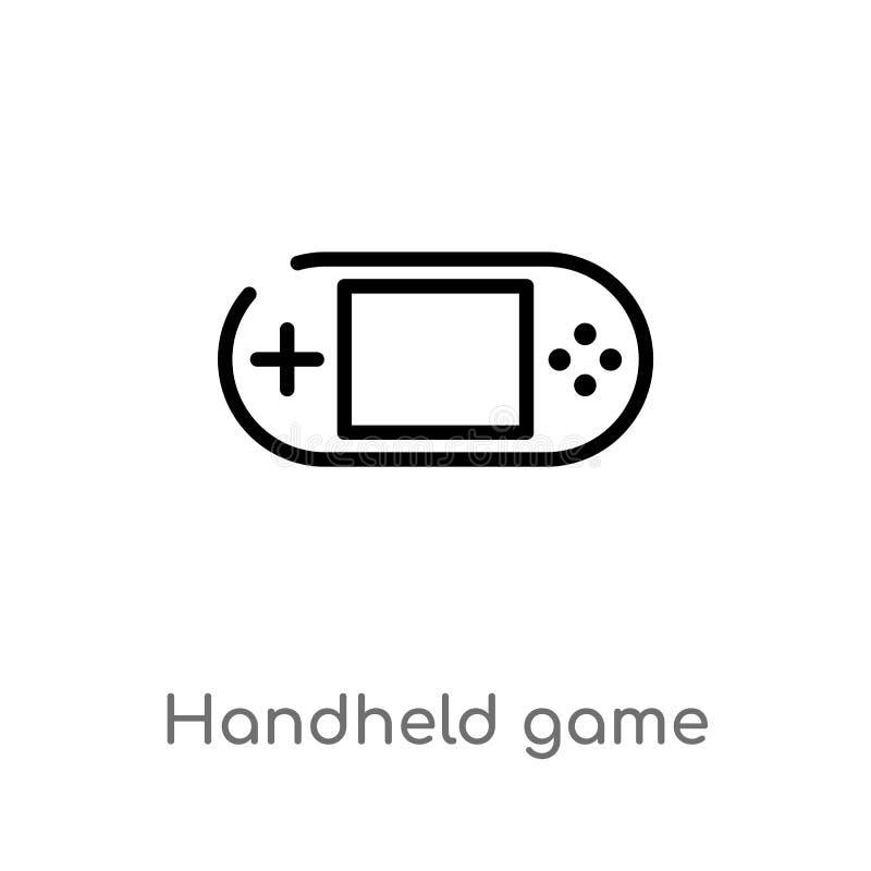 icono del vector del juego del PDA del esquema línea simple negra aislada ejemplo del elemento del entretenimiento y del concepto stock de ilustración