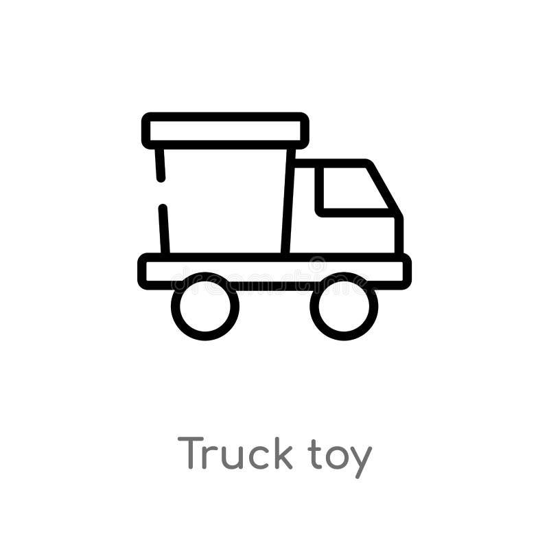 icono del vector del juguete del camión del esquema línea simple negra aislada ejemplo del elemento del concepto de los juguetes  ilustración del vector