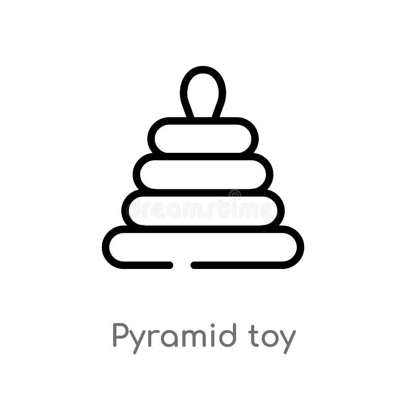 icono del vector del juguete de la pirámide del esquema l?nea simple negra aislada ejemplo del elemento del concepto de los jugue ilustración del vector
