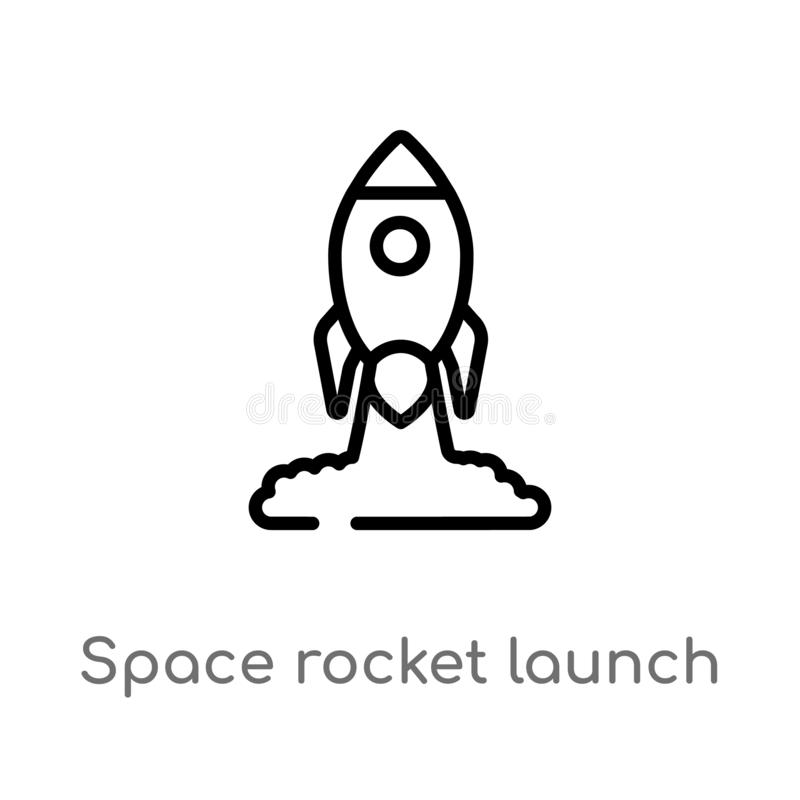 icono del vector del lanzamiento del cohete de espacio del esquema l?nea simple negra aislada ejemplo del elemento del concepto d ilustración del vector