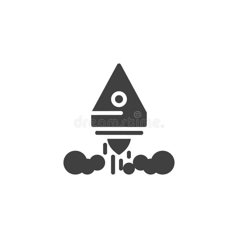 Icono del vector del lanzamiento de Rocket stock de ilustración
