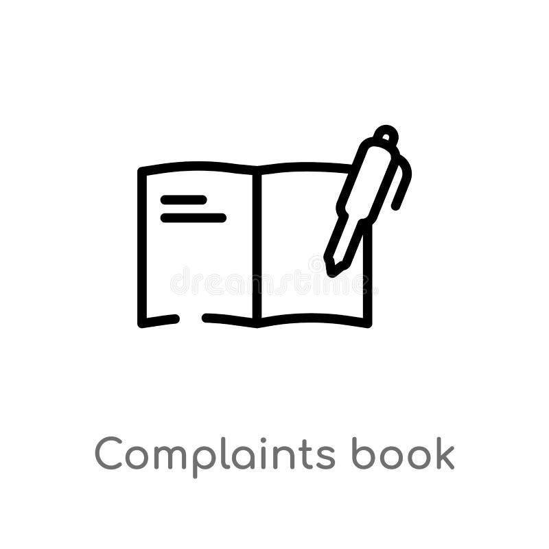 icono del vector del libro de denuncias del esquema l?nea simple negra aislada ejemplo del elemento del concepto de las comunicac ilustración del vector