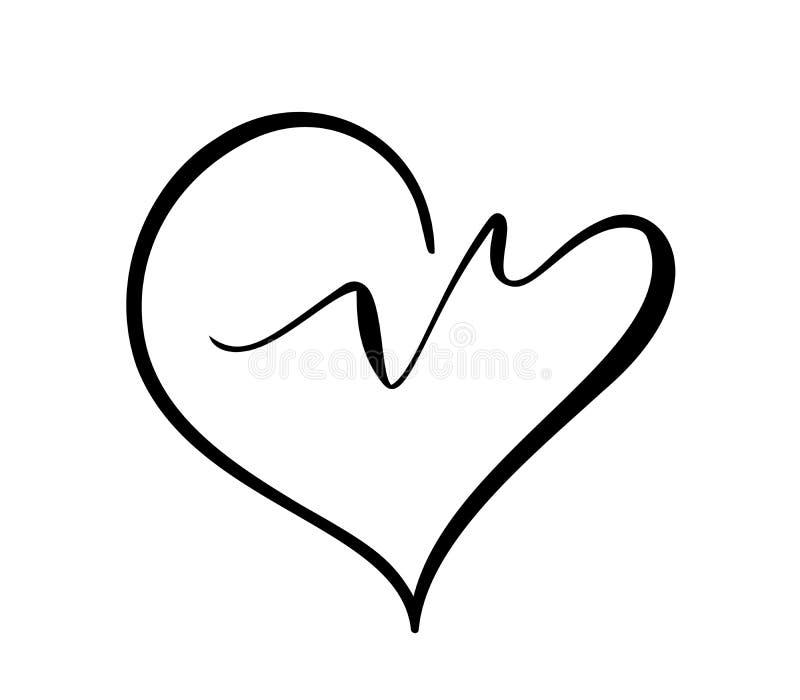 Icono del vector del logotipo del corazón y del latido del corazón Símbolo moderno aislado del corazón para el centro médico o la libre illustration