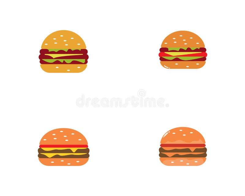 Icono del vector del logotipo de la hamburguesa stock de ilustración