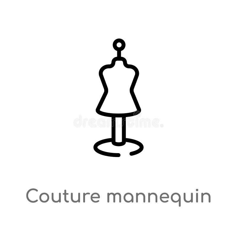 icono del vector del maniquí de las costuras del esquema línea simple negra aislada ejemplo del elemento del concepto de las form libre illustration