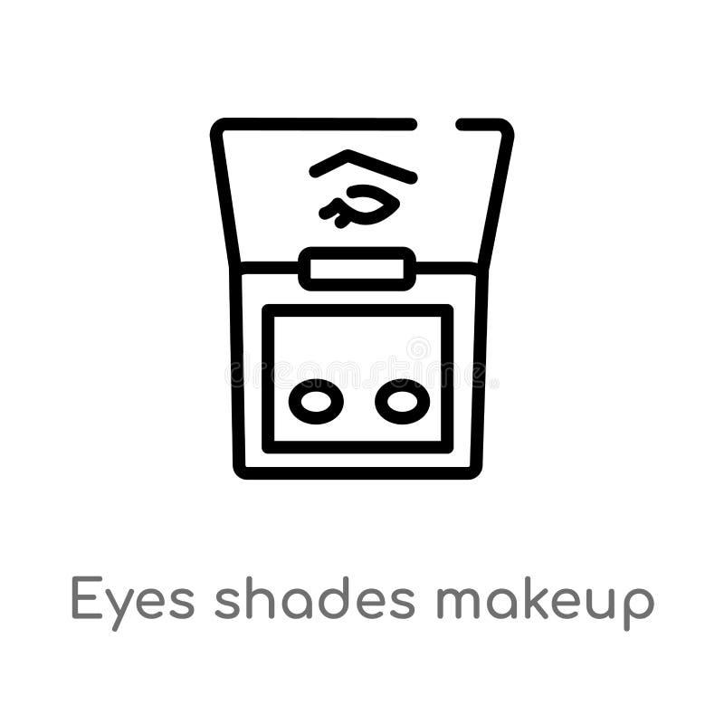 icono del vector del maquillaje de las sombras de los ojos del esquema línea simple negra aislada ejemplo del elemento del concep ilustración del vector