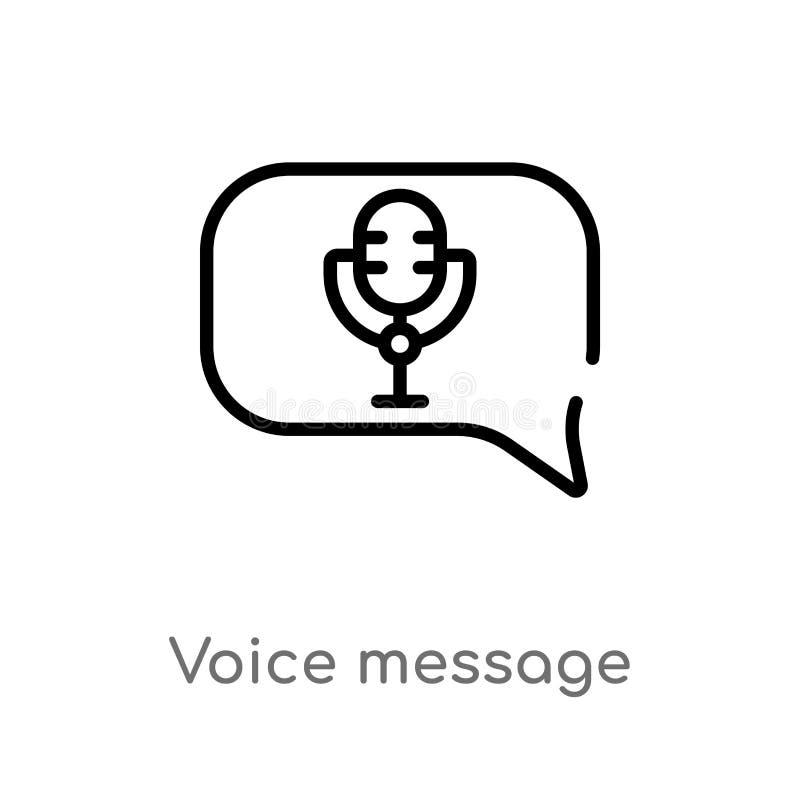 icono del vector del mensaje de la voz del esquema l?nea simple negra aislada ejemplo del elemento del concepto de la interfaz de ilustración del vector