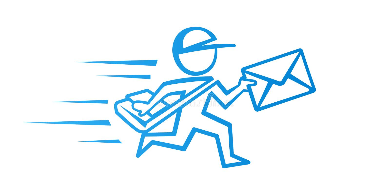 Icono del vector del mensajero del correo Servicio de salida Muestra del cartero libre illustration