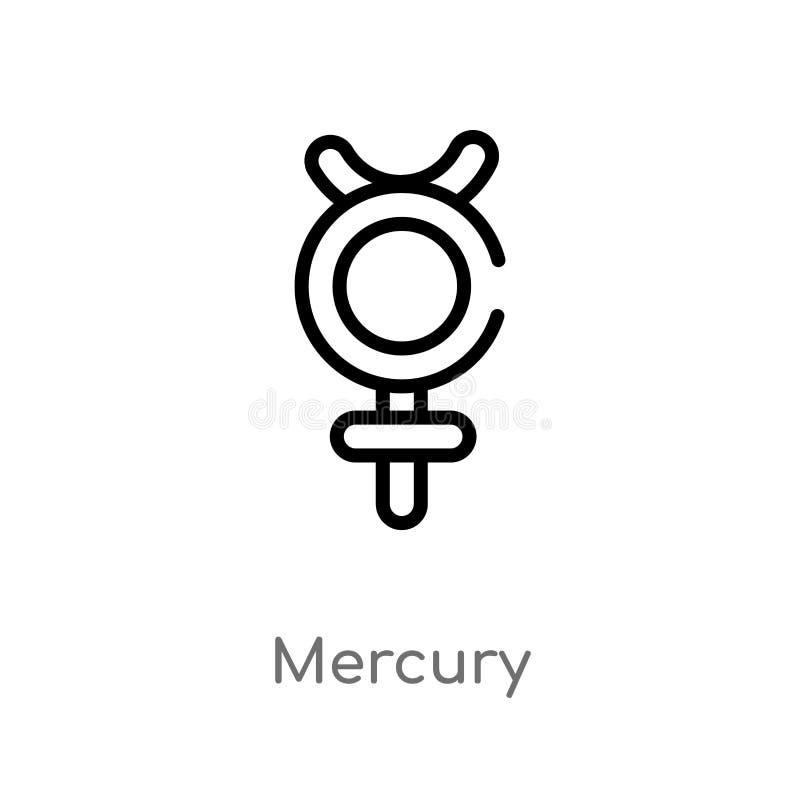 icono del vector del mercurio del esquema línea simple negra aislada ejemplo del elemento del concepto del zodiaco mercurio edita stock de ilustración