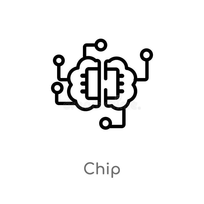 icono del vector del microprocesador del esquema l?nea simple negra aislada ejemplo del elemento del concepto de la inteligencia  ilustración del vector