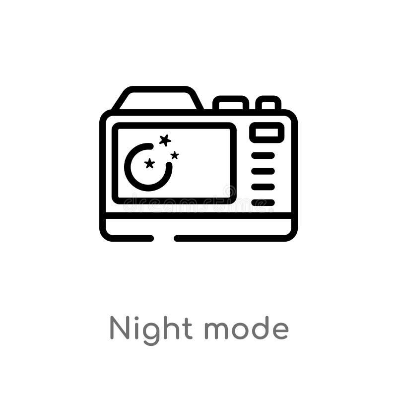 icono del vector del modo de noche del esquema línea simple negra aislada ejemplo del elemento del concepto de la fotografía Movi stock de ilustración