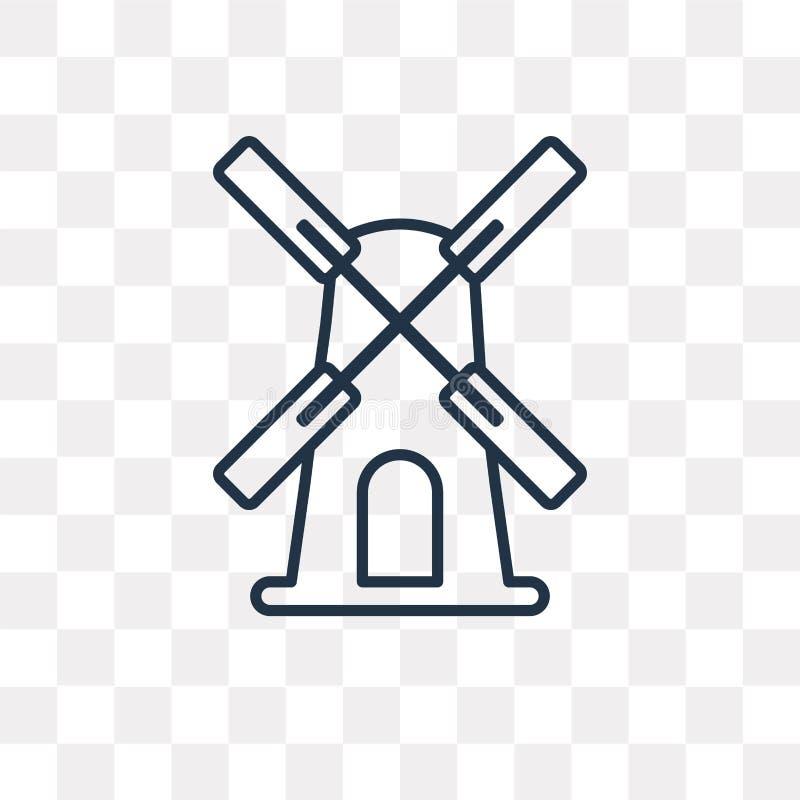 Icono del vector del molino de viento aislado en el fondo transparente, linear stock de ilustración