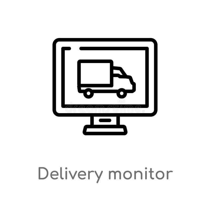icono del vector del monitor de la entrega del esquema línea simple negra aislada ejemplo del elemento del concepto de la entrega ilustración del vector