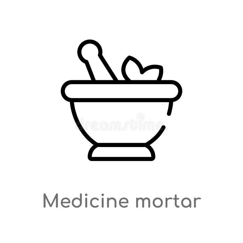 icono del vector del mortero de la medicina del esquema línea simple negra aislada ejemplo del elemento del último concepto de lo stock de ilustración