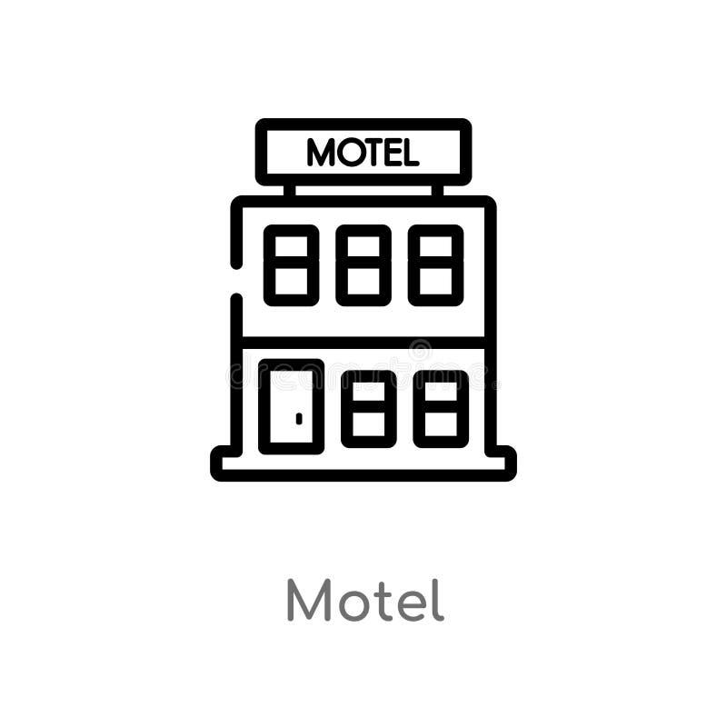 icono del vector del motel del esquema l?nea simple negra aislada ejemplo del elemento del concepto de los elementos de la ciudad ilustración del vector