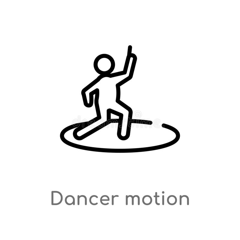 icono del vector del movimiento del bailar?n del esquema l?nea simple negra aislada ejemplo del elemento del concepto de los depo stock de ilustración