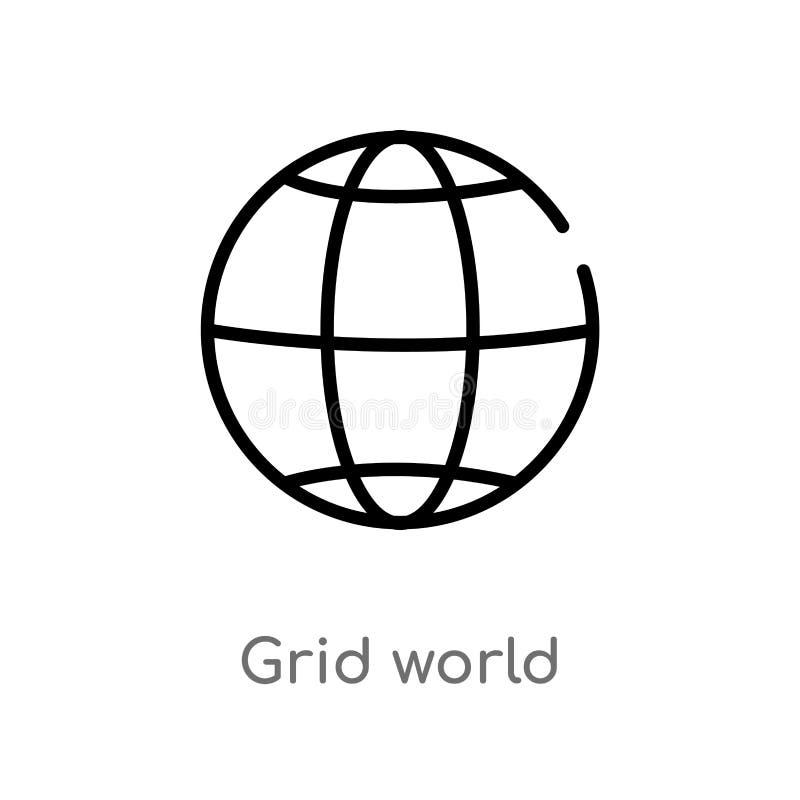 icono del vector del mundo de la rejilla del esquema l?nea simple negra aislada ejemplo del elemento del concepto de las muestras stock de ilustración