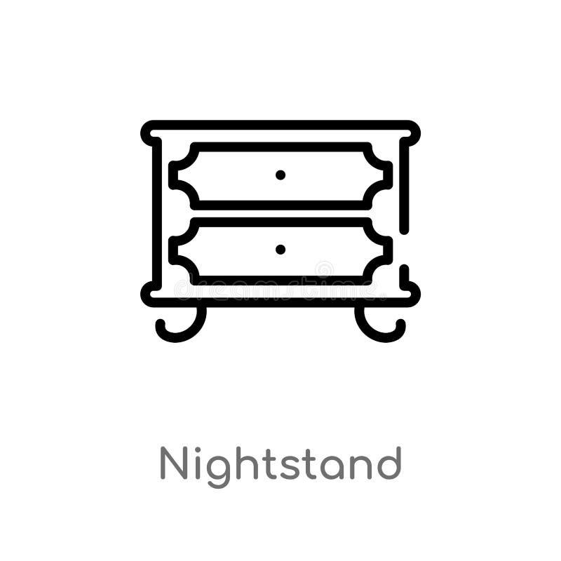 icono del vector del nightstand del esquema l?nea simple negra aislada ejemplo del elemento del concepto de los muebles y del hog stock de ilustración