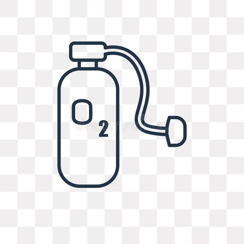 Icono del vector del oxígeno aislado en el fondo transparente, buey linear libre illustration