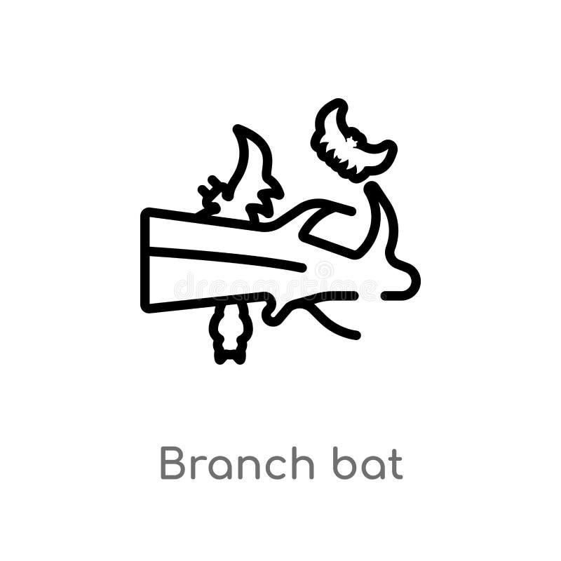 icono del vector del palo de la rama del esquema l?nea simple negra aislada ejemplo del elemento del otro concepto rama editable  stock de ilustración