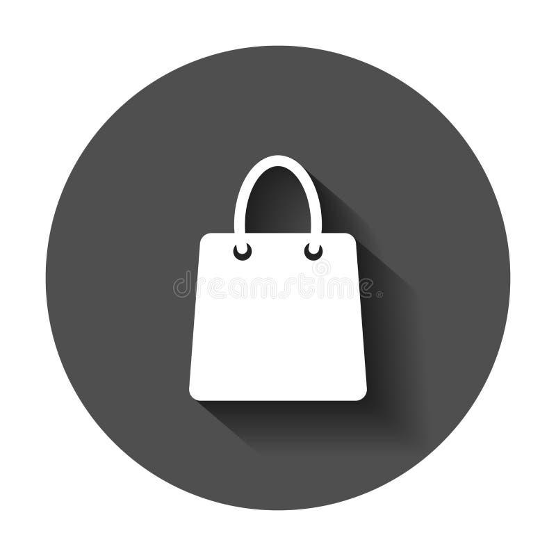 Icono del vector del panier Ejemplo plano del vector del bolso de la venta de la tienda stock de ilustración