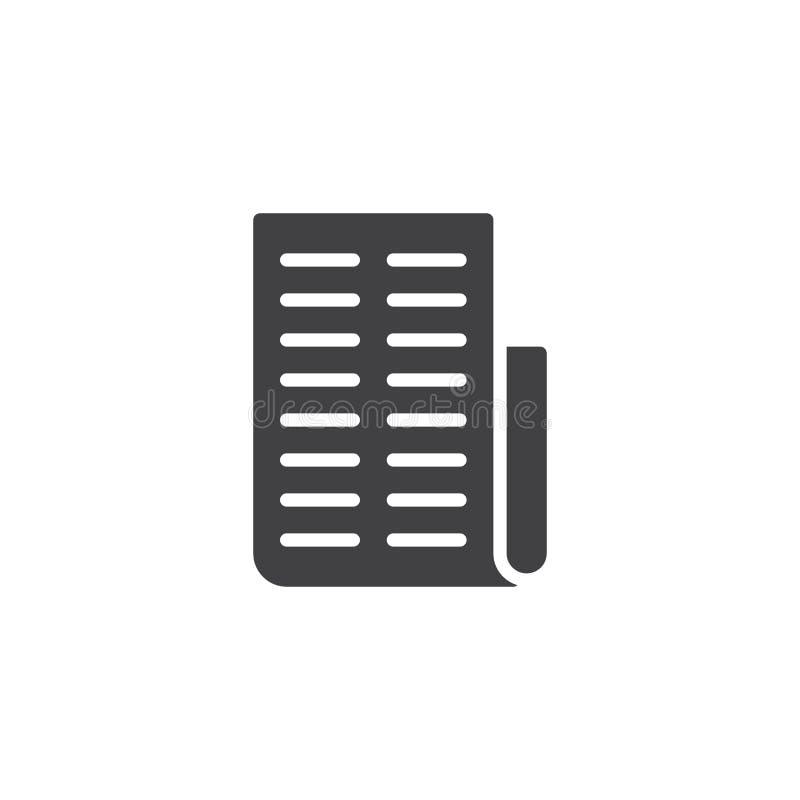 Icono del vector del papel de la factura ilustración del vector