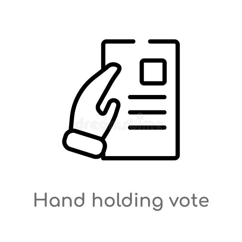 icono del vector del papel del voto de la tenencia de la mano del esquema l?nea simple negra aislada ejemplo del elemento del con stock de ilustración