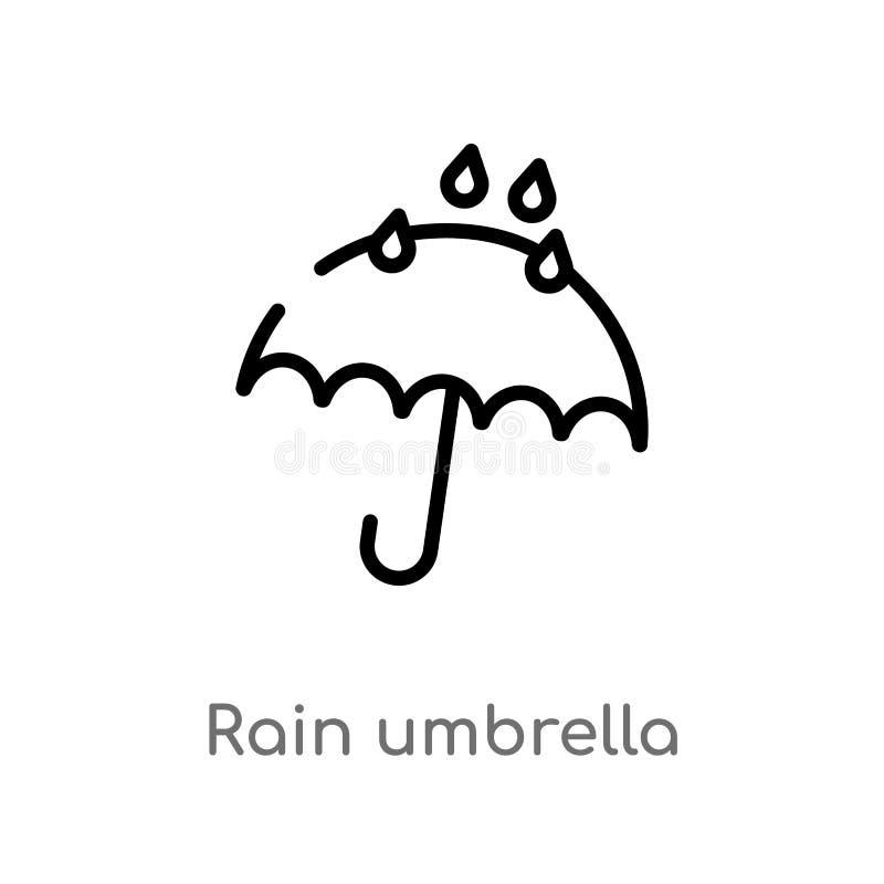 icono del vector del paraguas de la lluvia del esquema línea simple negra aislada ejemplo del elemento del concepto del tiempo Mo ilustración del vector