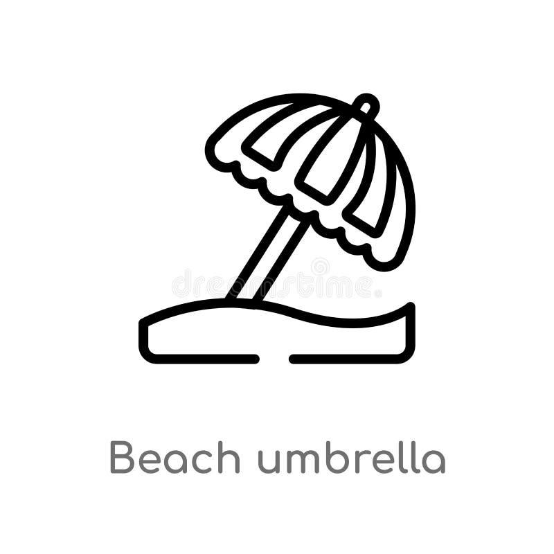 icono del vector del parasol de playa del esquema r Vector Editable ilustración del vector