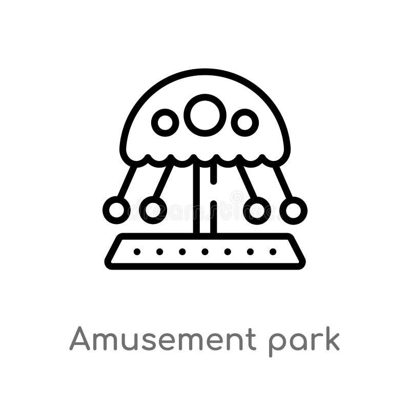 icono del vector del parque de atracciones del esquema l?nea simple negra aislada ejemplo del elemento del concepto del entreteni libre illustration