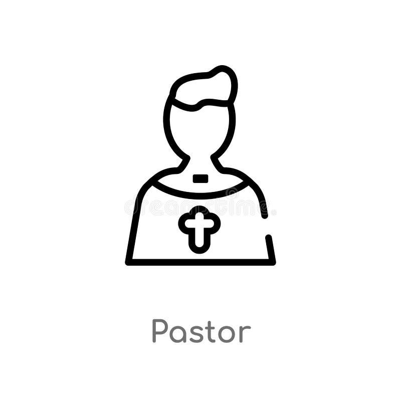 icono del vector del pastor del esquema l?nea simple negra aislada ejemplo del elemento del concepto de la fiesta y de la boda de stock de ilustración