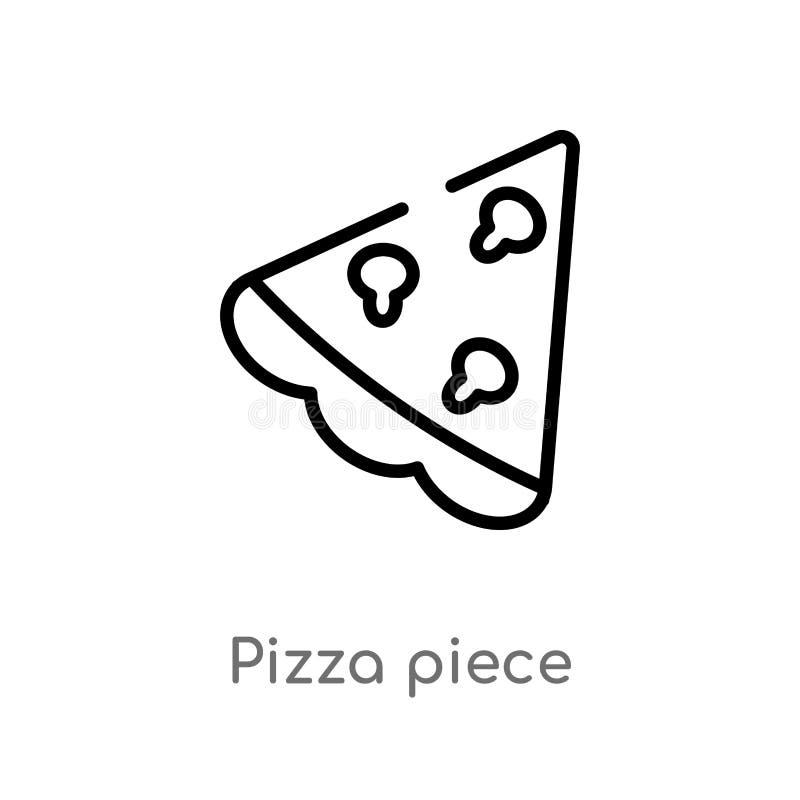 icono del vector del pedazo de la pizza del esquema línea simple negra aislada ejemplo del elemento del último concepto de los gl libre illustration